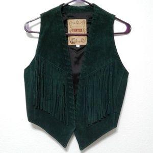 Frontier Collection Vtg Green Fringe Leather Vest